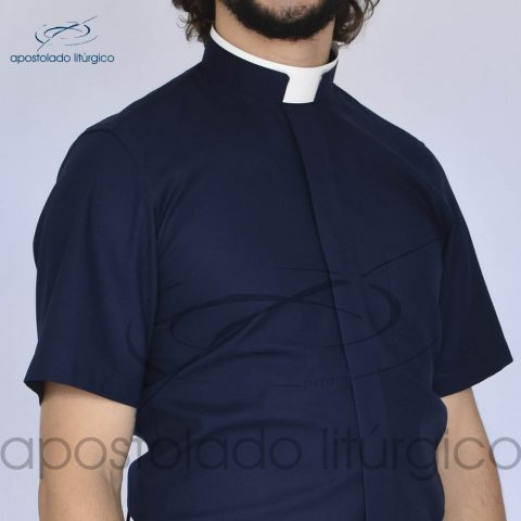 Camisa Confort Gola Romana Azul Marinho Manga Curta Frente