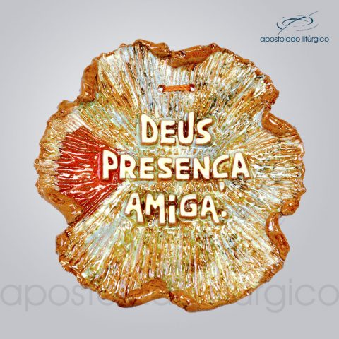 Quadro de Ceramica Deus Presenca Amiga 12x13cm – COD 2080