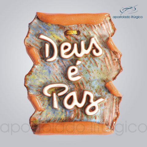 Quadro de Ceramica Deus e Paz Pergaminho 10x7cm – COD 2196