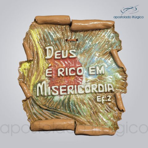 Quadro de Ceramica Deus e Rico em Misericordia 16x14cm – COD 2018