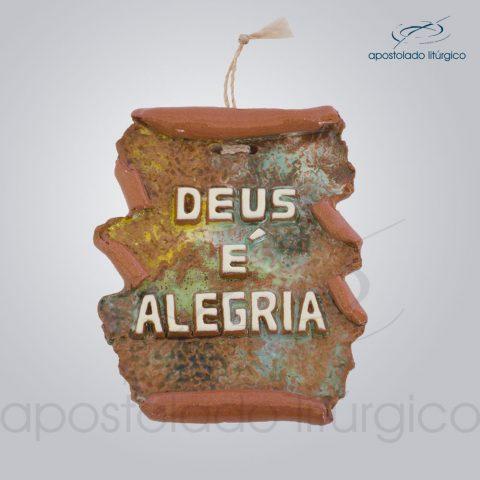 Quadro de Ceramica Deus e alegria em pergaminho 10×9 cm-2197