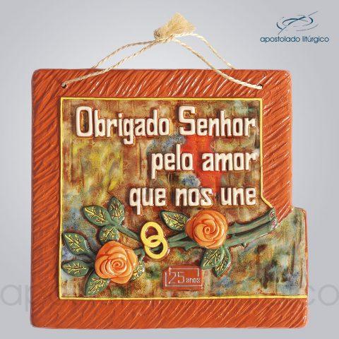 Quadro de Ceramica Obrigado Senhor Pelo Amor que Nos Une 25 Anos 30x32cm – COD 2086