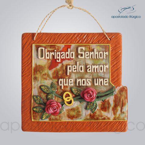 Quadro de Ceramica Obrigado Senhor Pelo Amor que nos Une G2 30x32cm – COD 2066