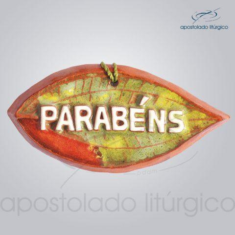 Quadro de Ceramica Parabens Folha 6X11 cm-2067