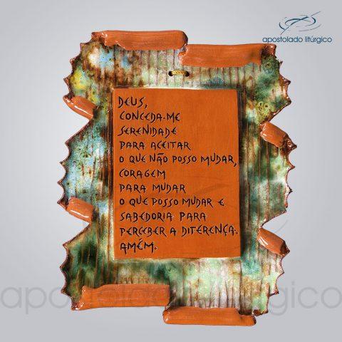 Quadro de Ceramica Prece da Serenidade Pergaminho P2 20x18cm – COD 2211
