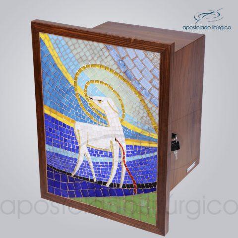 Sacrario Mosaico Cordeiro 35x25x28cm Porta 46x35cm Frente Lateral – COD 4191