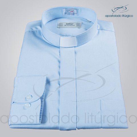 Camisa Casinha de Abelha Azul Claro Manga Longa Tamanho 4 (b)