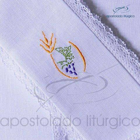 Conjunto de Altar de Linho Bordado Trigo Uva Dezenho COD 01771-0004