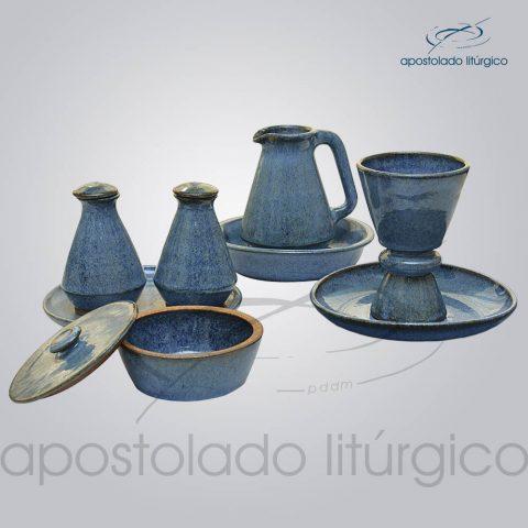Conjuto de Celebracao com Anel em Ceramica Azul Completo
