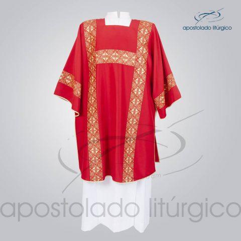 Dalmatica Crepe Seda Galao [Largo N 9] Vermelha Frente