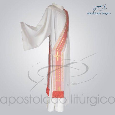 Estola Diaconal Brocado [Cruz A] Rosa Lateral