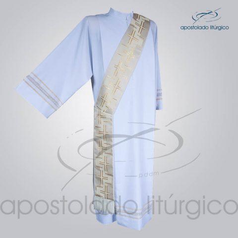 Estola Diaconal Brocado [Cruz Caminho 2] Branca Frente