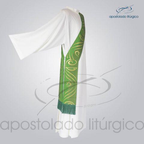 Estola Diaconal Brocado [Peixe Pao] Verde Lateral