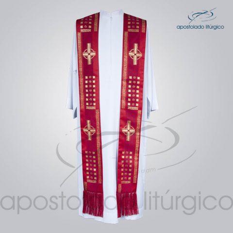 Estola Presbiteral Brocada [Cruz A] Vermelha Frente