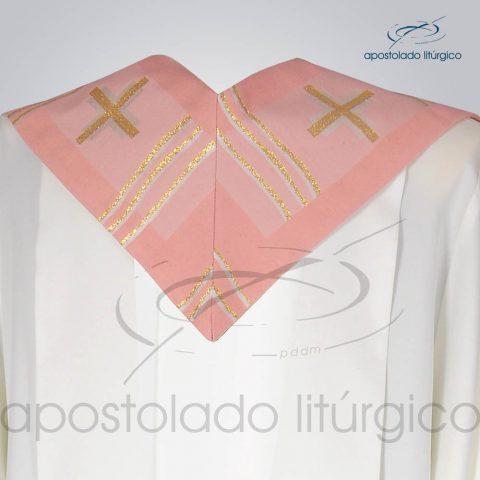 Estola Presbiteral Brocada [Cruz Caminho] Rosa Costas