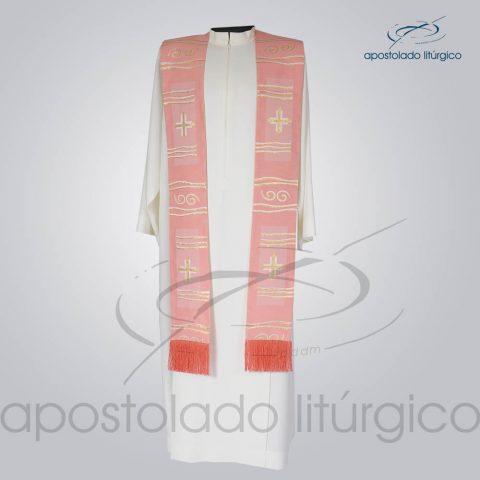 Estola Presbiteral Brocada [Cruz Caminho] Rosa Frente