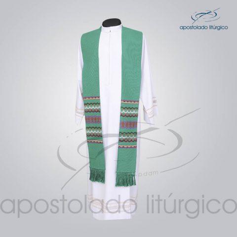 Estola Presbiteral Tecelagem [Grossa] Verde Frente
