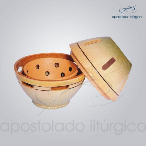 Incensorio Ceramica com Tampa 12 cm Esmaltado Verde Aberto – COD 2173
