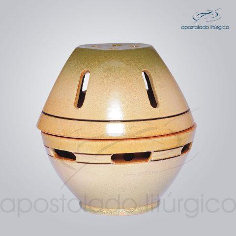 Incensorio Ceramica com Tampa 12 cm Esmaltado Verde Fechado – COD 2173