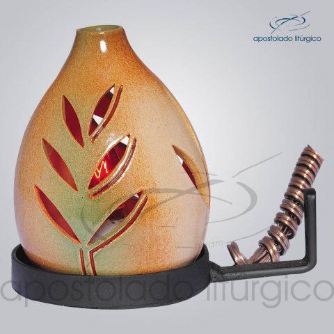Indicador de Ceramica Folha Esmaltado Parede Pequeno 13cm COD 2165