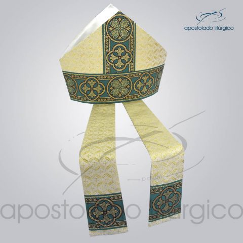 Mitra Gotica Brocado damasco galao 10 verde Infola